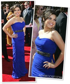 America Ferrera in a Royal Blue Monique Lhuillier Gown - Emmy Awards 2007