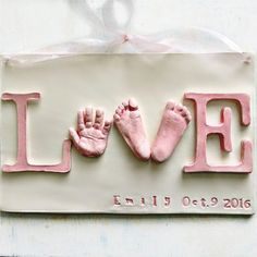 """Baby Hand and Footprint Love Plaque - """"LOVE"""" Wall Decor for newborn to 6 mo.  - Personalized Baby Keepsake Gift - Baby Gift - Wall Art"""