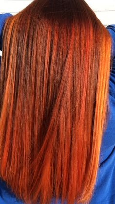 Red Hair Orange Highlights, Red Orange Hair, Caramel Highlights, Red Copper Hair Color, Ginger Hair Color, Hair Color And Cut, Hair Vanity, Honey Brown Hair, Wedding Hair Colors