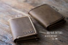 Men's Leather Trifold Wallet Made with Distressed Leather