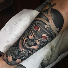 By Aniela. #grenade #animal #military #neotraditional