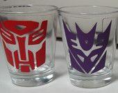 Transformers Shot Glasses (TheCraftyGeek86 on Etsy)