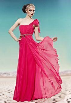Tucked A-line One-shoulder Tencel Formal Dress