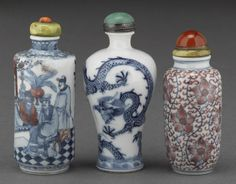 Three blue and white porcelain snuff bottles 19th century