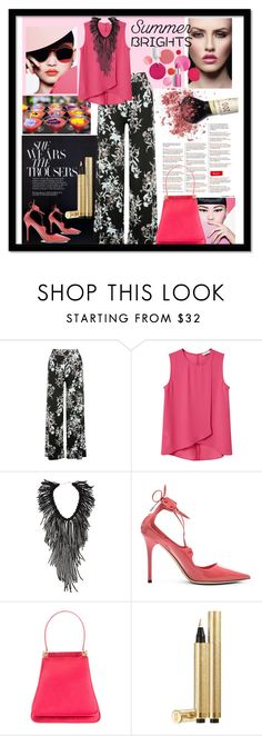 """""""Untitled #938"""" by talatay ❤ liked on Polyvore featuring M&Co, MANGO, NAKAMOL, Jimmy Choo, Judith Leiber, Yves Saint Laurent and Clinique"""