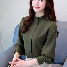 Womens Loose Shirts Blouse Women Tops Long Sleeve Casual Chiffon Blouse Women Loose Office Blouses Clothing Solid Shirts Casual Blouse Plus Size Collars For Women, Blouses For Women, Dress Shirts For Women, Casual Tops For Women, Office Blouse, Shirt Bluse, Looks Chic, Chiffon Shirt, Blouse Styles