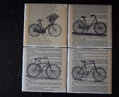 Drink Coasters  Ceramic Tile Coasters  Book Page Art by JuliBecker