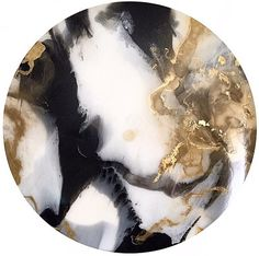 Resin art. 100cm custom artwork for a friend. Black white and gold round resin painting