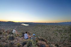 Guests enjoy the view in the Sanbona Wildlife Reserve, Little Karoo, South Africa
