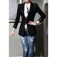 Stylish Turn-Down Collar Solid Color Zip Embellished Long Sleeve Blazer For Women Blazer | RoseGal.com Mobile