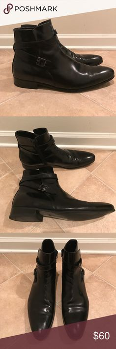 Aldo Strap Buckle Dress Boot This dress boot chukka features a wrap around buckle strap and inner zip. Classic and simple, this boot pairs perfectly with a pair of slacks or jeans for the weekend. They are lightly worn and in very good condition. Aldo Shoes Boots