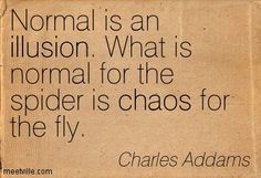"""""""Normal is an illusion. What is normal for the spider is chaos for the fly."""" Charles Addams"""