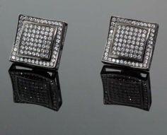 .925 Sterling Silver Black Square Black Onyx Crystal Micro Pave Unisex Mens Stud Earrings 12mm