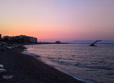 Sunset in Rhodes. Summer with beautiful colors