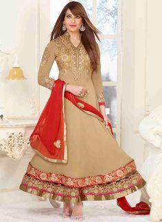 USD 48.47 Bipasha Basu Beige Georgette Anarkali Suit 48544