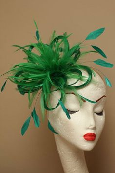 Green  Satin and Feather Fascinator Hat  by MaighreadStuart, £26.00