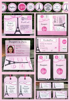 paris invitation images | Paris Party Invitation & Printable Collection, EDITABLE text PDF file ...
