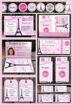 paris invitation images   Paris Party Invitation & Printable Collection, EDITABLE text PDF file ...