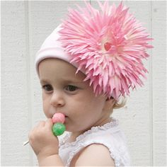 Pink Daisy Lady Baby Hat $32.99 USD