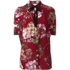 Gucci Floral Silk Shirt With Bloom Print ❤ liked on Polyvore featuring tops, gucci tops, red floral shirt, floral top, silk shirt and silk top