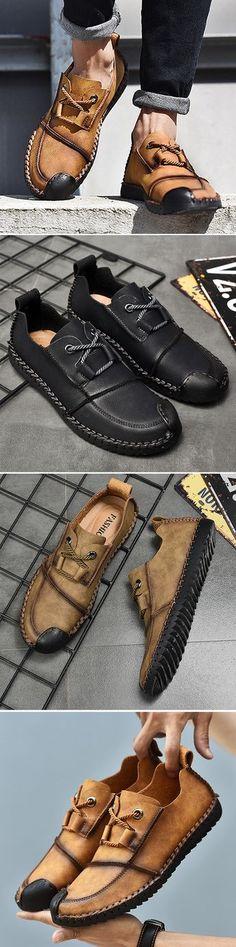 US$36.65 Men's Vintage Cap Toe Hand Stitching Stylish Flat Slip On Casual Shoes