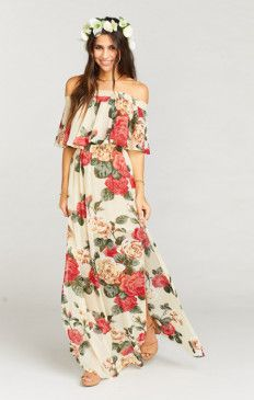 Her pretty ruffle is flattering on everyone, and her elastic scrunch neck line will allows you to dance all night long. I think this might just be one of the most versatile dresses we have ever seen. Wear her as a tube dress, off your shoulders, or even o Floral Bridesmaid Dresses, Floral Maxi Dress, Boho Dress, Bridesmaids, Luau Outfits, Dress Outfits, Fashion Dresses, Rustic Dresses, Beachwear Fashion