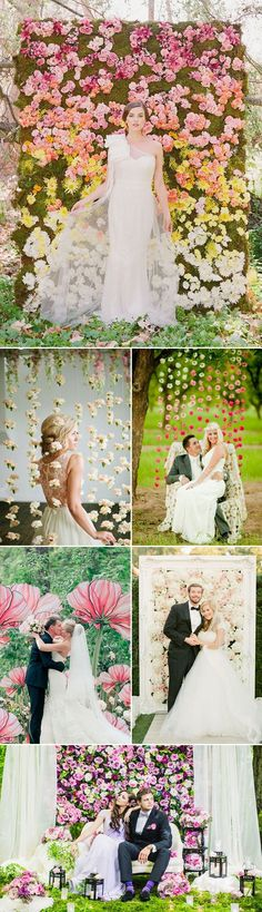 We have to admit, this is something we can stand behind (or in front of!)  45 Creative Wedding Photo Backdrops - Floral Backdrop!