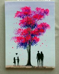 Diy Canvas Art, Oil Painting On Canvas, Love Painting, Watercolor Paintings, Painting Tips, Painting Videos, Beginner Canvas Painting Ideas, Beginning Painting Ideas, Tree Painting Easy