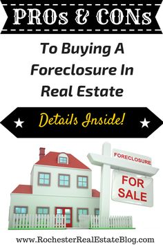 Buying a foreclosure in real estate can be a great thing for some buyers & a bad thing for others! See all the PROs and CONs to buying a foreclosure here! http://www.rochesterrealestateblog.com/is-buying-a-foreclosure-a-good-idea-in-real-estate/ via @KyleHiscockRE #realestate #foreclosures #homebuying