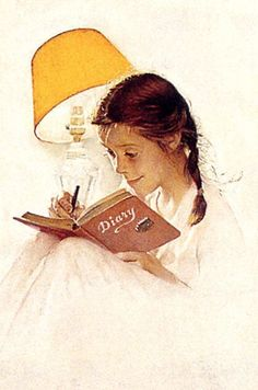 Art of the Post: Was Norman Rockwell Secretly a French Impressionist? Giril in bed, writing in her diary.Giril in bed, writing in her diary. Norman Rockwell Prints, Norman Rockwell Paintings, Illustrations Vintage, Illustration Art, The Saturdays, Mail Art, American Artists, Great Artists, Famous Artists