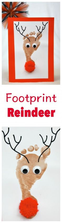 Fun And Easy Christmas Crafts For Kids : Reindeer Footprint Kids Crafts, Christmas Crafts For Toddlers, Daycare Crafts, Baby Crafts, Toddler Crafts, Preschool Crafts, Holiday Crafts, Holiday Fun, Arts And Crafts For Kids Toddlers
