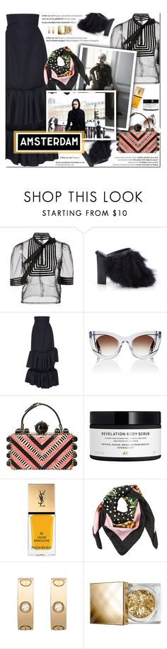 """""""How to Style a Black Ruffle Maxi Skirt with a Sheer Black Blouse, Polka Dot Scarf, Striped Box Bag and Feather Statement Heels for Travel to Amsterdam"""" by outfitsfortravel ❤ liked on Polyvore featuring TIBI, Jacquemus, Thierry Lasry, Tonya Hawkes, H&M, Yves Saint Laurent, Dolce&Gabbana, Balmain, Cartier and Burberry"""