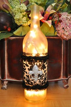 Fleur-de-Lis Wine Bottle Lights - Unique Gift Bridesmaid Gift. $20.00, via Etsy.