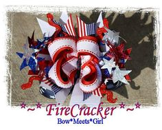July 4th FIRECRACKER Hair Bow by BowMeetsGirl on Etsy,