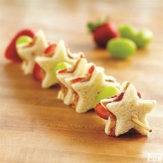Get into the springtime groove with our tasty PB&J Fruit Kabobs recipe. Cut 10 shapes from bread using a star-shaped cookie cutter, and spread peanut butter and jam on each star. Next, thread sandwiches, strawberry halves and grapes on each skewer and enjoy.