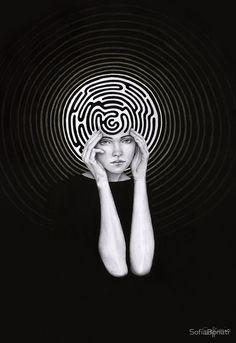 black and white - woman - labyrinth - illustration - Sofia Bonati Op Art, Sofia Bonati, Photocollage, Art Et Illustration, Girl Illustrations, Grafik Design, Conceptual Art, Maze, Art Inspo