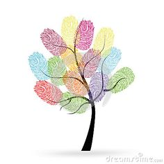 Illustration about Tree with colorful finger prints vector background. Illustration of design, identity, help - 56530470 Thumb Painting, Finger Painting, Fabric Painting, Fingerprint Tattoos, Fingerprint Art, Art Drawings For Kids, Easy Drawings, Art For Kids, Hand Print Tree