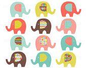 elephant clipart, clip art elephant, pink magenta yellow blue turquoise aqua, image invitation invite baby shower birthday party supply 031
