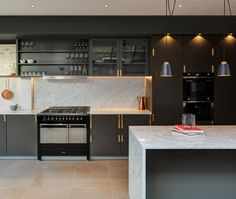 like this kitchen. Minale + Mann with Buster and Punch brass ware and HOOKED 1.0 pendants