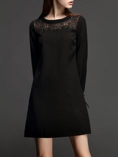 #AdoreWe #StyleWe NEXIIA Black Elegant Solid Embroidered Mini Dress - AdoreWe.com