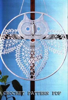 Crochet Pattern Instruction for Owl home decoration in charts. Dream Catcher. by ErenaCrochetStudio on Etsy https://www.etsy.com/au/listing/77107940/crochet-pattern-instruction-for-owl-home