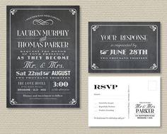 Printable Wedding Invitation & RSVP postcard  by rosiedaydesign, $40.00.