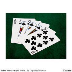 Poker Hands - Royal Flush - Clubs Suit Postcard