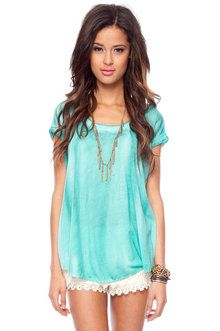 Let's Get Faded Tunic Top in Seafoam