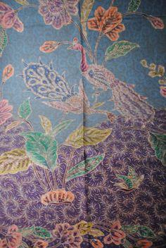 Disc 20% off - Purple Green Indonesian Handwritten Batik Fabric - Bird, Cotton, Manual Coloring Wax Method, Pekalongan-Java Style