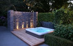 I like the stone wall and the sunken tub. Also like the privacy created. We will need the privacy addressed with ours. Hot Tub Deck, Hot Tub Backyard, Hot Tub Garden, Backyard Pools, Jacuzzi Outdoor, Outdoor Spa, Outdoor Gardens, Sunken Hot Tub, Decks