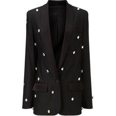 Racil Black Diamante Bling Soho Jacket (£985) ❤ liked on Polyvore featuring outerwear, jackets, blazers, coats & jackets, dinner jacket, tuxedo shawl, shawl tuxedo jacket, tuxedo dinner jacket and shawl tuxedo
