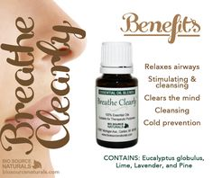 Breathe Clearly is a blend of essential oils specifically created to help nasal congestion. Shop affordable and therapeutic essential oils and blends with BioSource Naturals. #aromatherapy