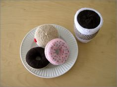 Coffee & donuts knitting (there is a link to the pattern, plus corrections)