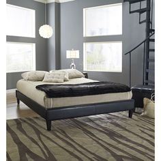 Twin size Padded Platform Bed Frame with Black Faux Leather Upholstery